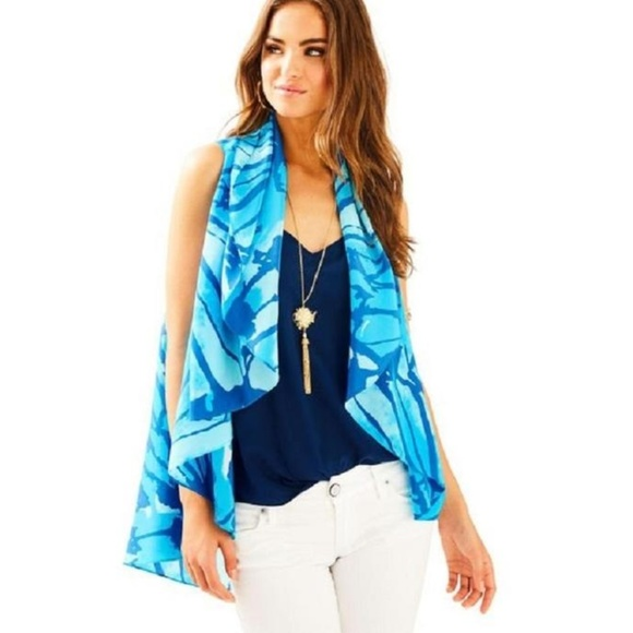9d7415104f Lilly Pulitzer Tops | Blue Stasia Silk Vest Tunics | Poshmark